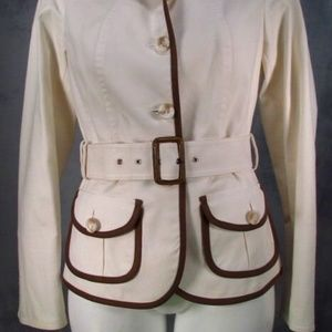 Etcetera Jacket w/Belt Ivory w/Brown Trim Size 4